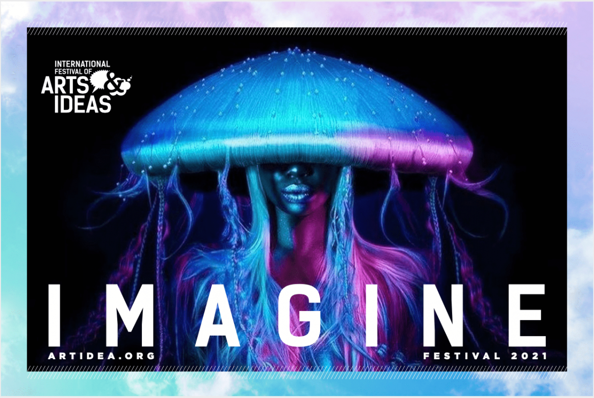 The head and torso of a woman bathed in blue and purple light with hair made to look like a jellyfish faces the camera with the word Imagine imposed over her